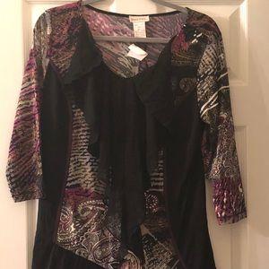 Monroe & Main Purple and Black Abstract Tunic